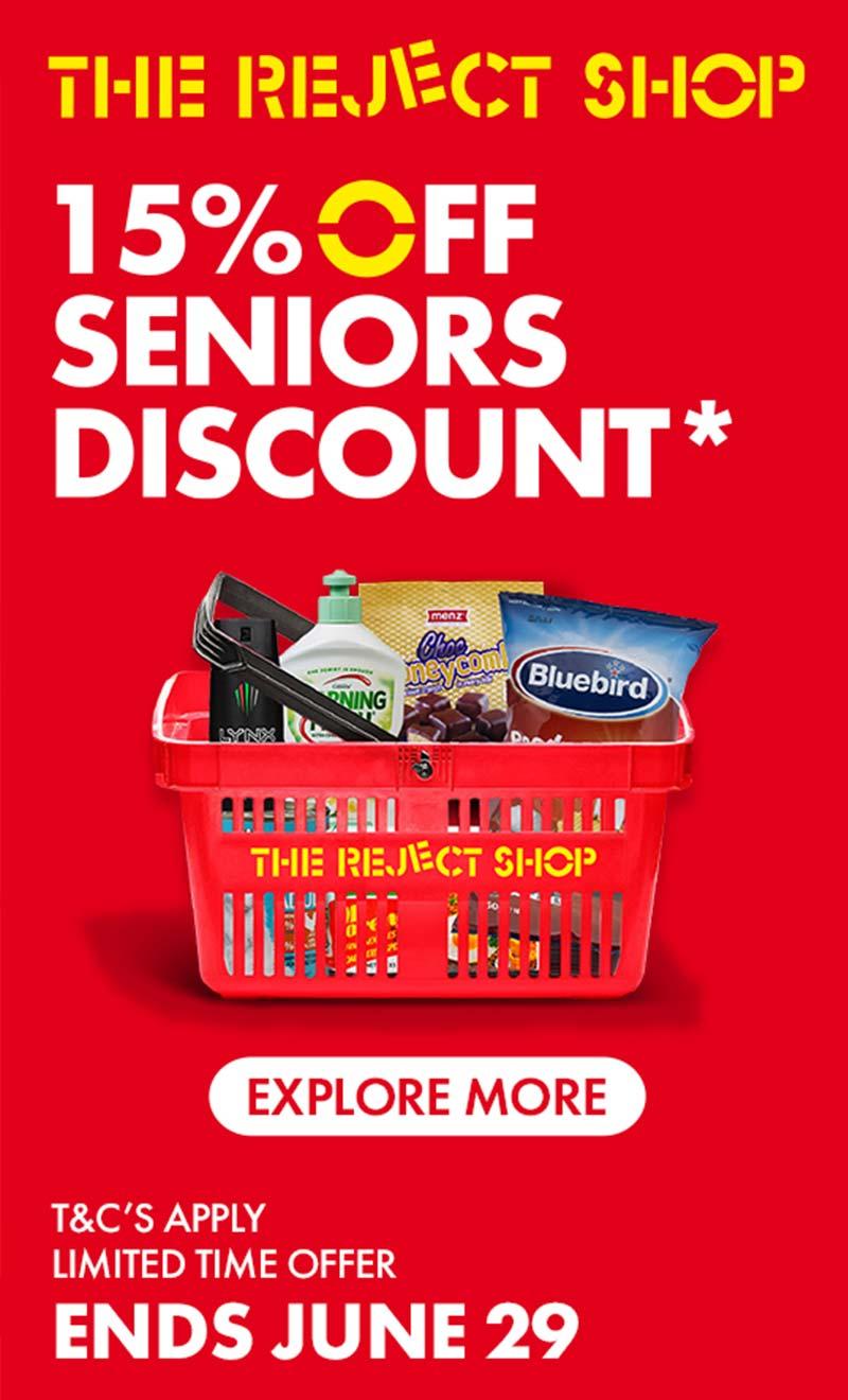 The Reject Shop Seniors discount